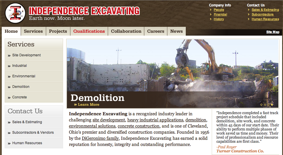 Independence Excavating website thumbnail